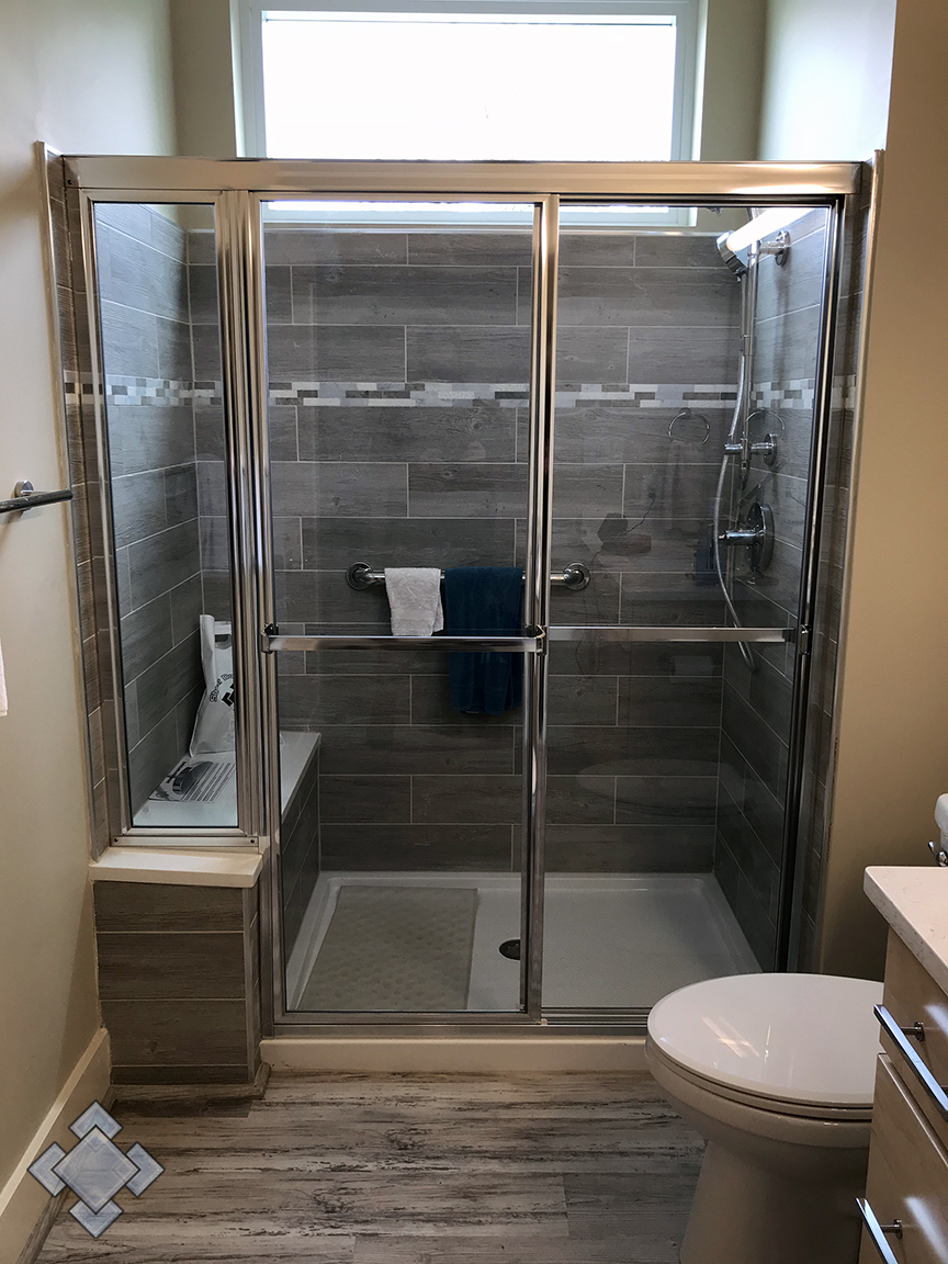 Fully framed Lucette shower door unit in Shepherdstown, West Virginia
