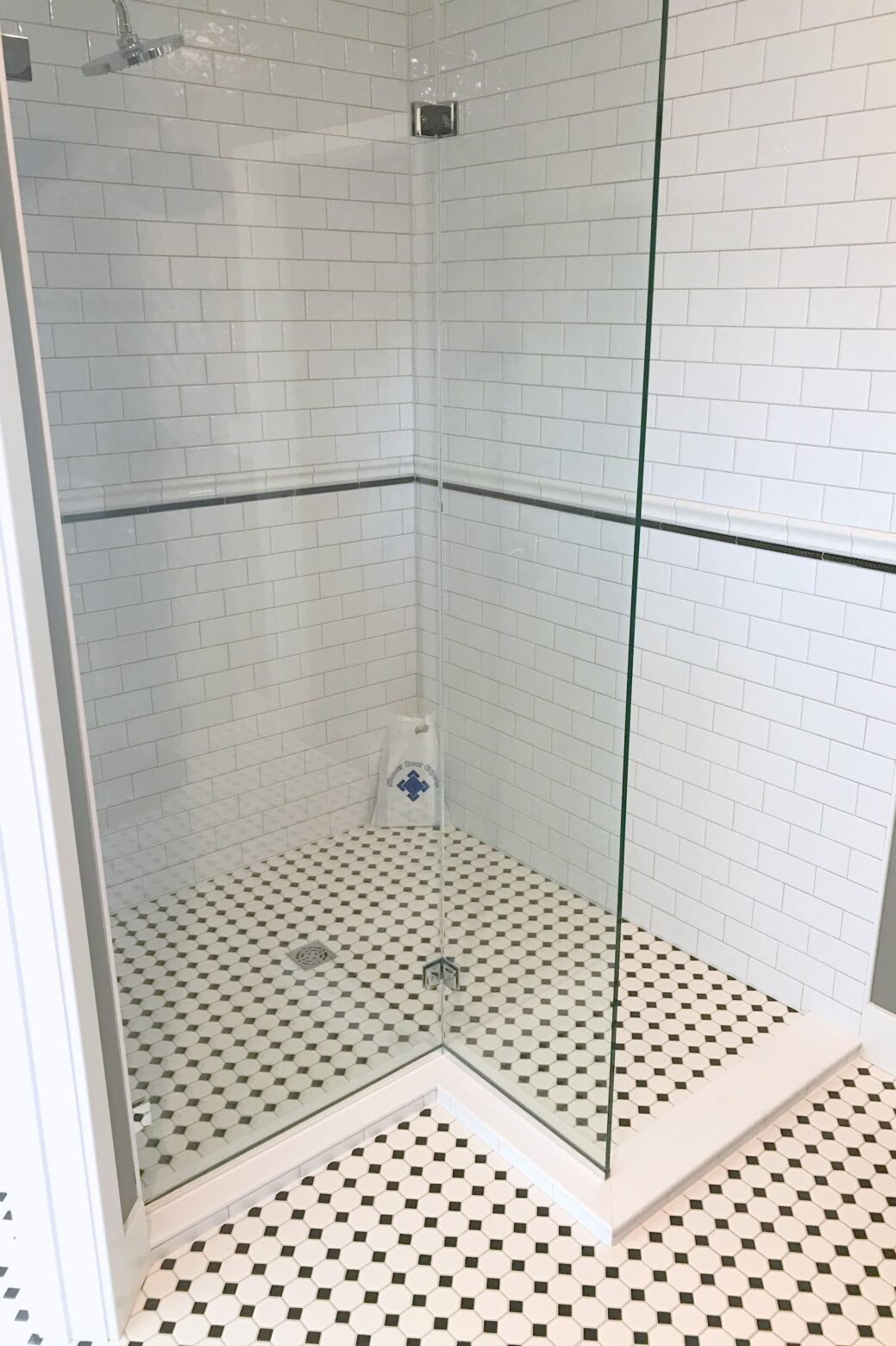 Custom walkthrough shower door enclosure
