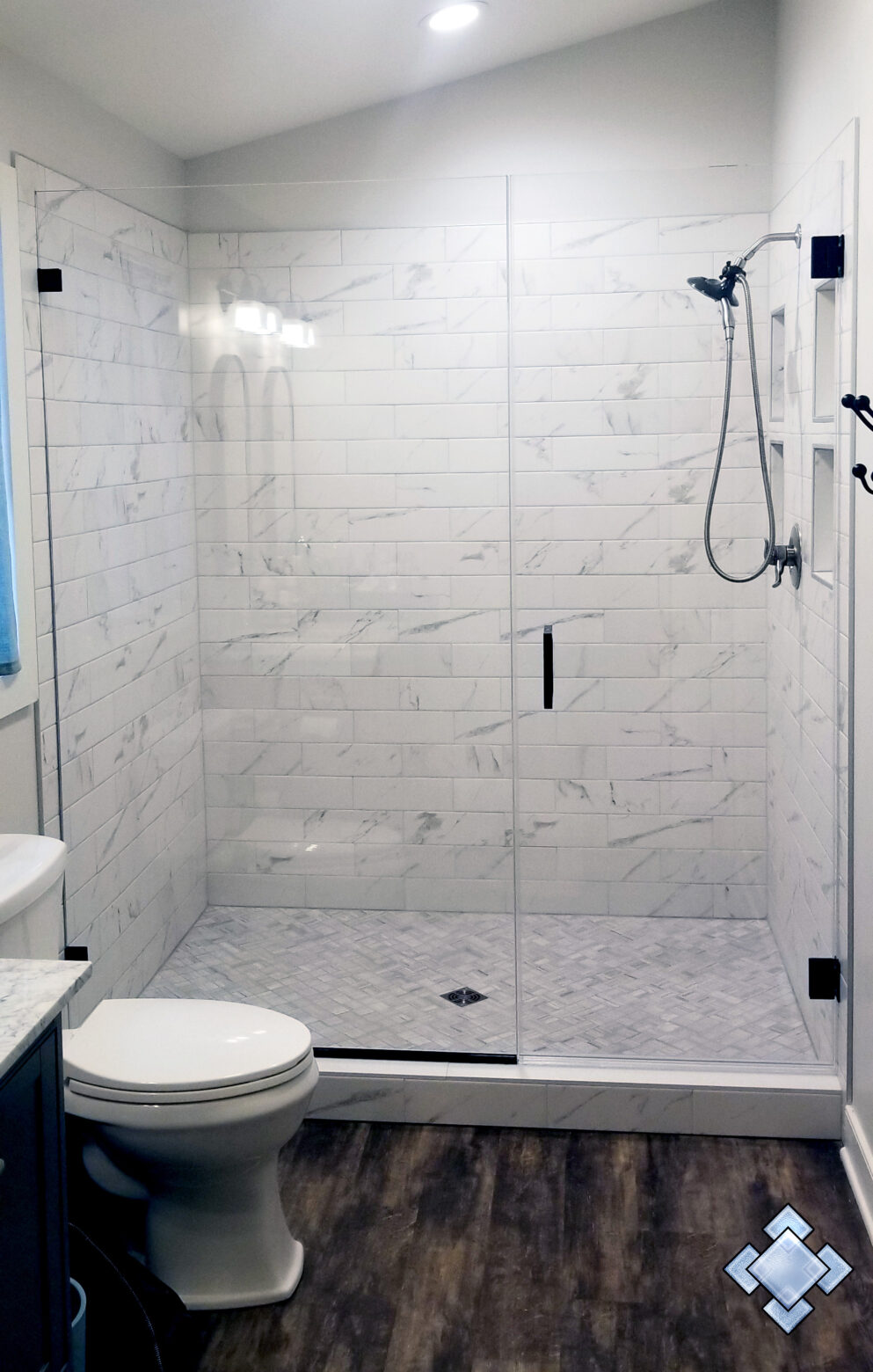 Minimalist shower door in Harpers Ferry West Virginia