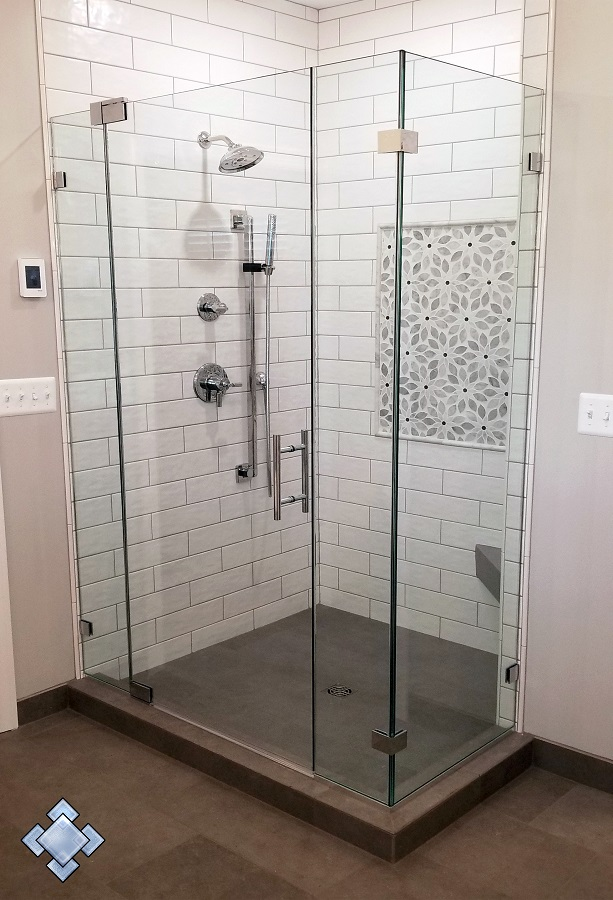 Shower with chrome hardware in Middletown Maryland