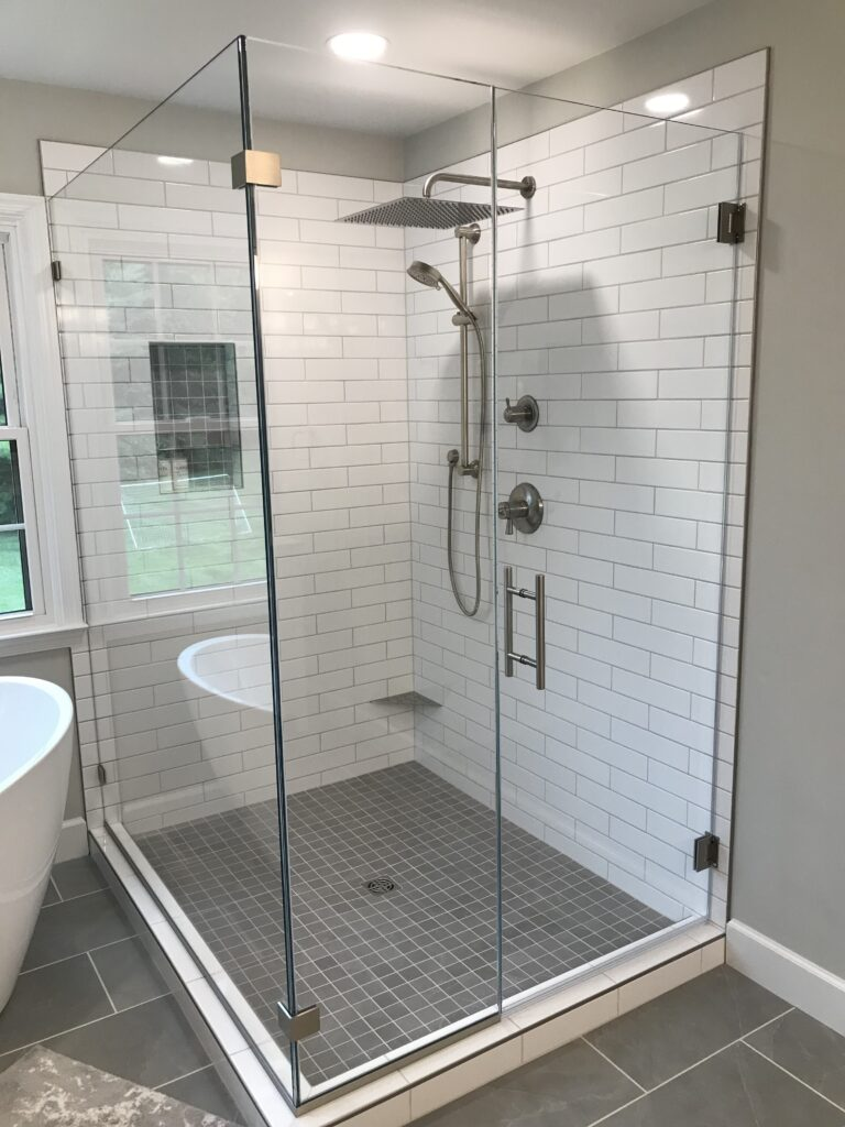 corner unit shower with low iron glass
